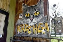 Stockholms Katthem, när det låg vid Telefonplan, fin graffitti, bild från Hittekatter i Fokus
