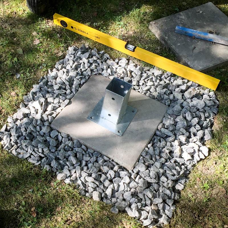 Fäst jordankaret i en platta om du har vattenledning under.