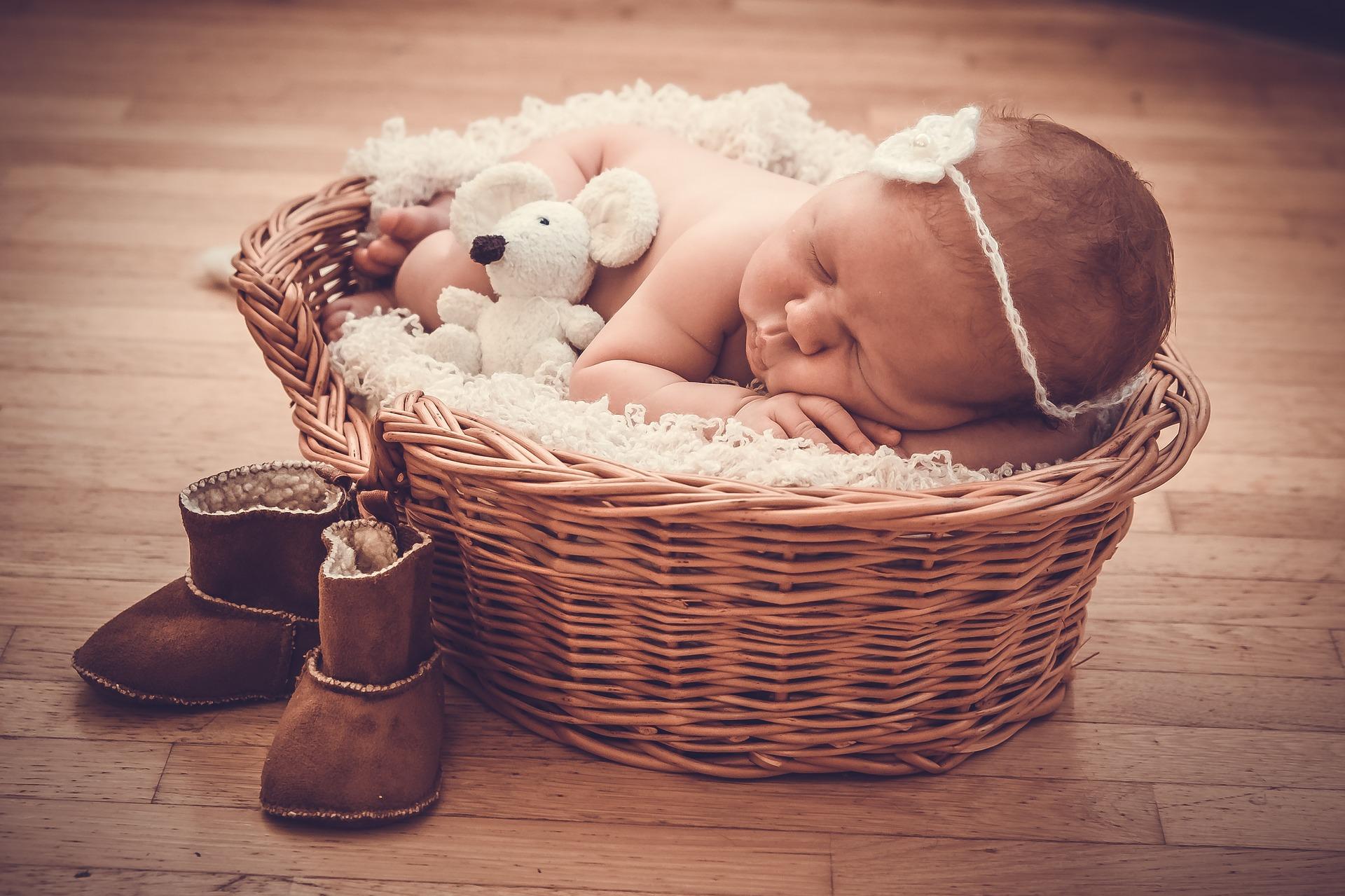 Bebis med gosedjur-mus i en korg, ett par för stora tofflor bredvid.
